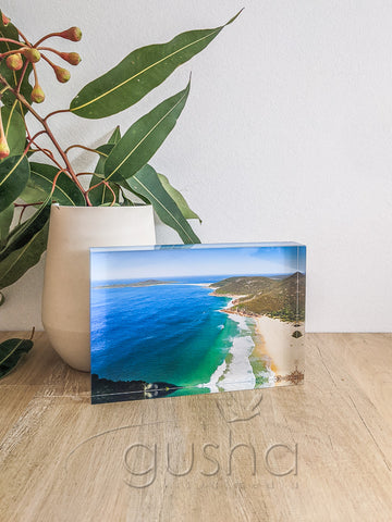 Acrylic desk block featuring Port Stephens PS0988