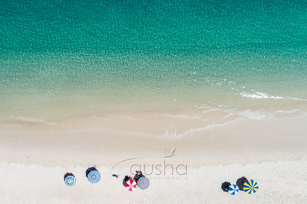 A photo of beach umbrellas on the shoreline at Fly Point, Nelson Bay