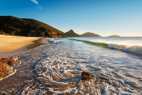 A morning photo of the seashore at Box Beach, Port Stephens