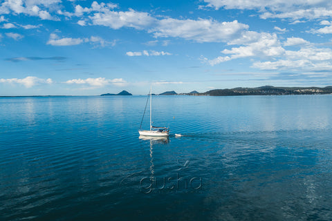 A photo of a yacht sailing at Port Stephens at Port Stephens, Australia