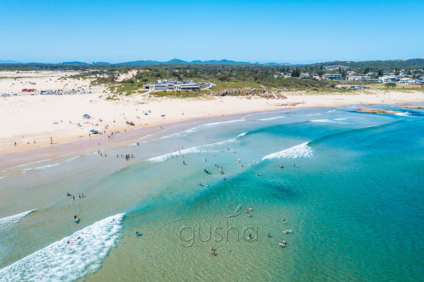 An aerial photo of Birubi Beach at Port Stephens, Australia