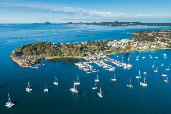 An aerial photo of Soldiers Point and the marina at Port Stephens, Australia