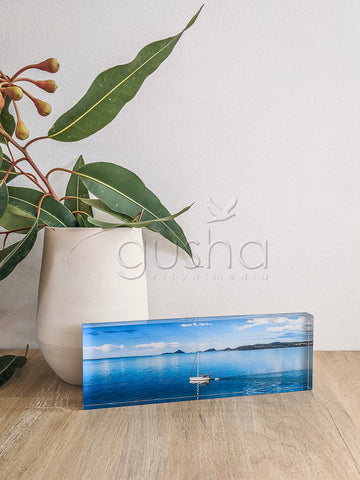 Acrylic desk block featuring Port Stephens PS3770