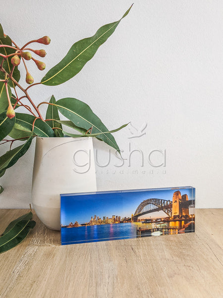 Acrylic desk block featuring Sydney Harbour SYD0663