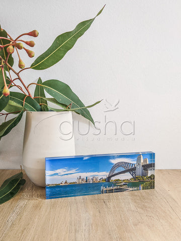 Acrylic desk block featuring Sydney Harbour SYD2955
