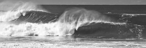 Black and white photo of waves at South Narrabeen Beach
