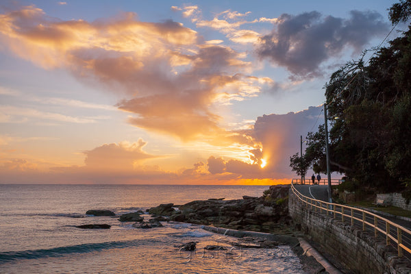 Captured at the south end of Manly Beach at sunrise, this photo shows the path known as Fairy Bower which links Manly and Shelly Beach.
