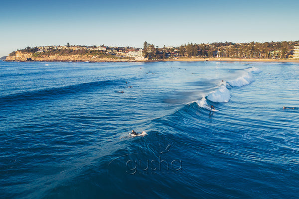 An overhead photo of surfers riding waves at Dee Why Beach in Sydney, Australia.