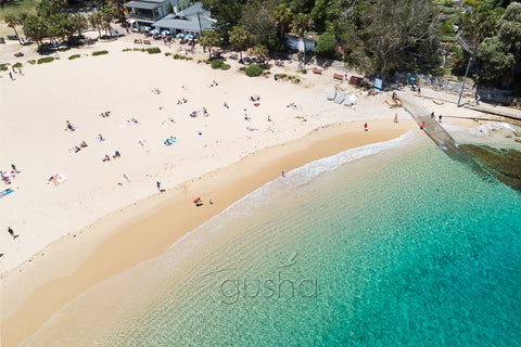 An overhead photo of Shelly Beach and the kiosk at Shelly Beach in Sydney, Australia.