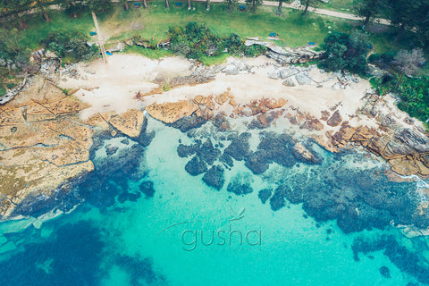 An overhead photo of Delwood Beach at Manly in Sydney, Australia.