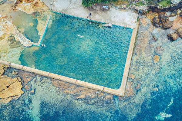 An overhead photo of Fairlight Pool near Manly in Sydney, Australia.