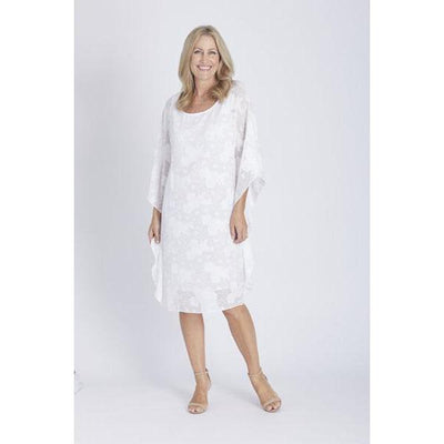 Burnout Kaftan Dress - White - Dresses