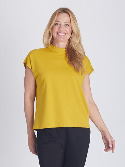 Zip Back Directional Top Mustard - Tops