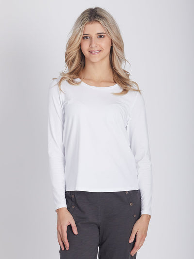 Lifestyle Basic Long Sleeve Top White - Tops