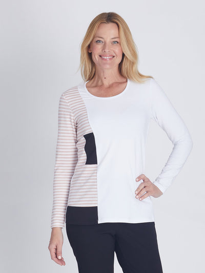 Spliced Stripe Top - Tops
