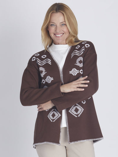 Fleece Embroidered Jacket Mocha - Jackets & Outerwear