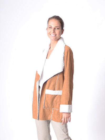 Faux Sherpa Jacket Tan - Jackets & Outerwear