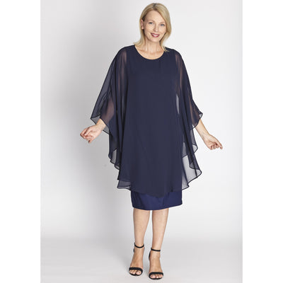 Cape Dress - Navy - Valentine's Day Collection