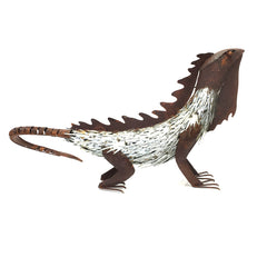 Hand Made Steel Lizard Statue 780mm