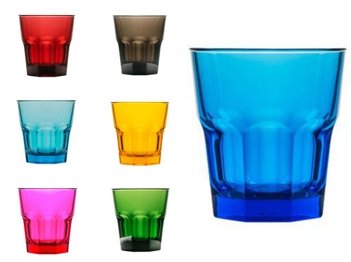 Coloured Rock Tumblers 240ml, Polycarbonate, Cocktail - Unbreakable Drinkware