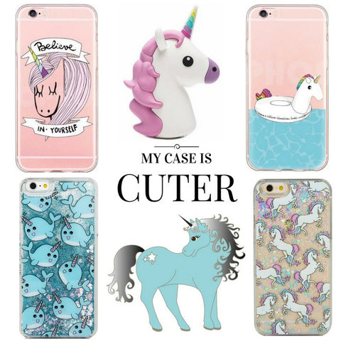 unicorn power bank and glitter iPhone cases