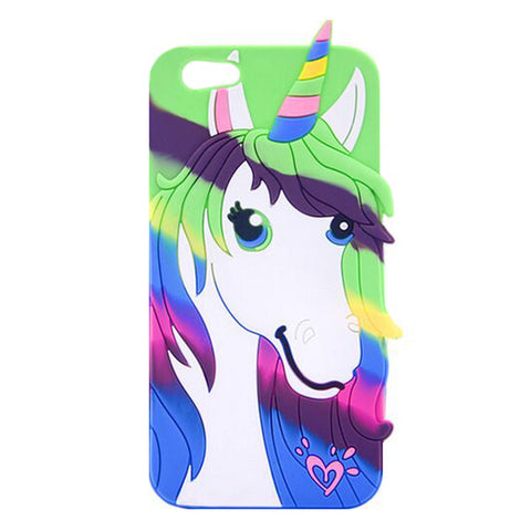 Blue and Green Rainbow Unicorn Pony Soft 3D iPhone Case