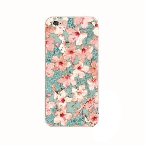 Soft Pink Hawaiian Hibiscus iPhone  5 5S, 5C, 6 6S, 6s Plus Back Case Cover