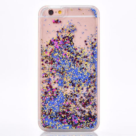 Blue and Gold Cascading Glitter Case for iPhone 5 5S SE 6S 6 Plus