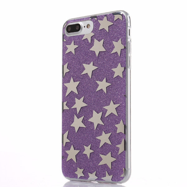 Glitter and Stars Case for iPhone 7, 7 Plus in Purple