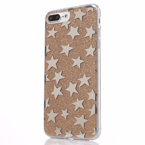 Glitter and Stars Case for iPhone 7, 7 Plus in Gold
