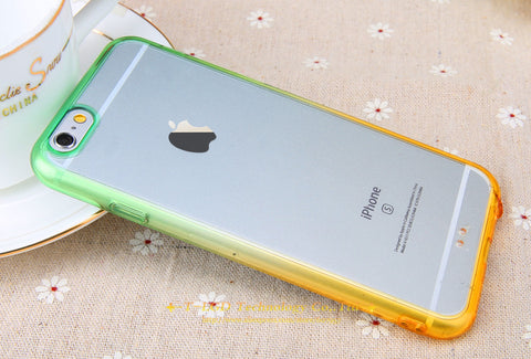 Green & Orange Rainbow Gradient Color Phone cases for iphone 5 5s 6 6s 6  Plus
