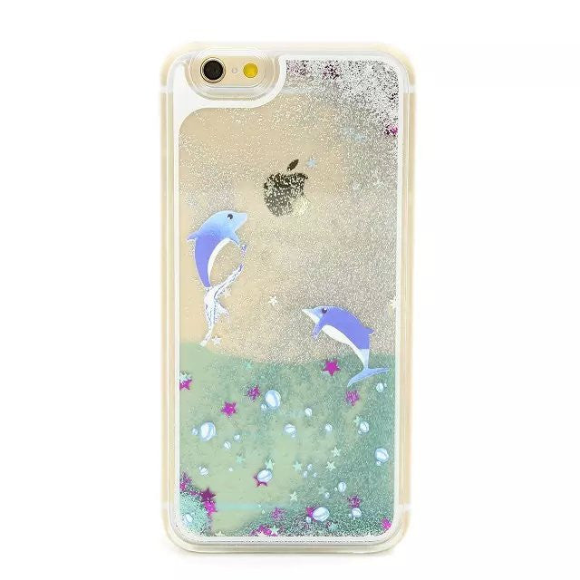 Dolphins in Liquid Ocean & Sparkling Glitter Sand Case for iPhone 4,5,6,6s,6 Plus