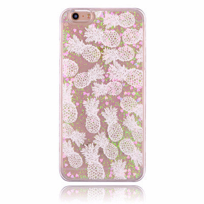 Cascading Glitter Aloha White Pineapple Case for iPhone