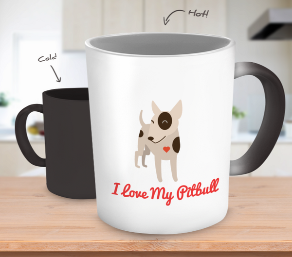 I Love My Pitbull Color Changing Mug