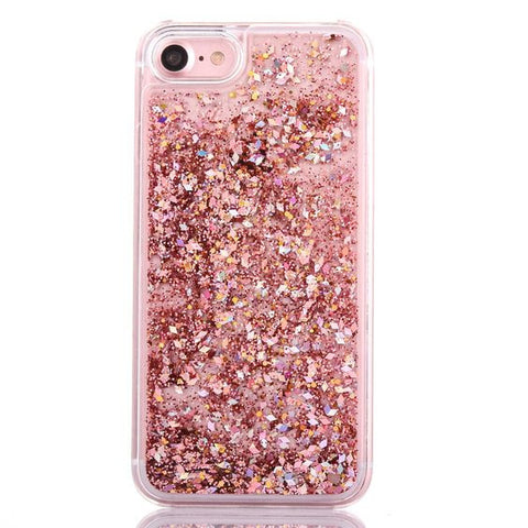 Luxury Rose Gold Glitter Flakes Case For iPhone 6 6s, 6 6s Plus 7