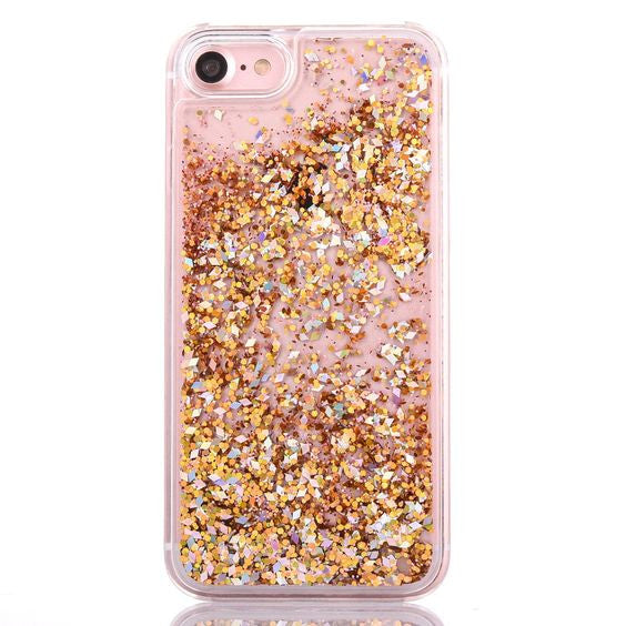 Gold Confetti Cascading Glitter Case for iPhone 5 5S SE 6S 6 Plus
