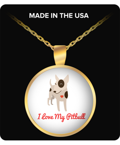 I Love My Pitbull Necklace in Gold