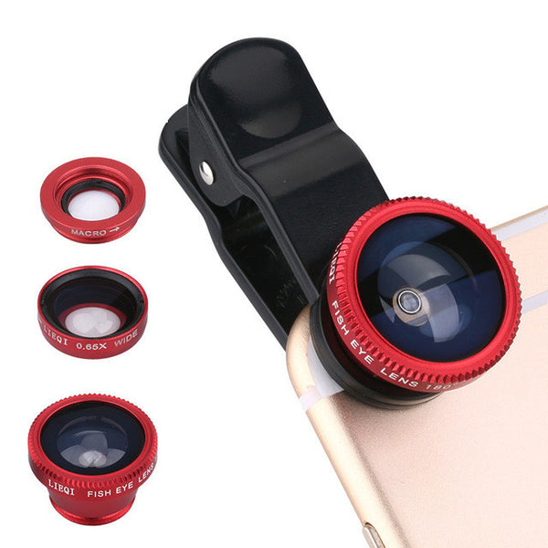 Universal 3in1 Clip-on Fish Eye Lens Wide Angle Shots For iPhone Samsung