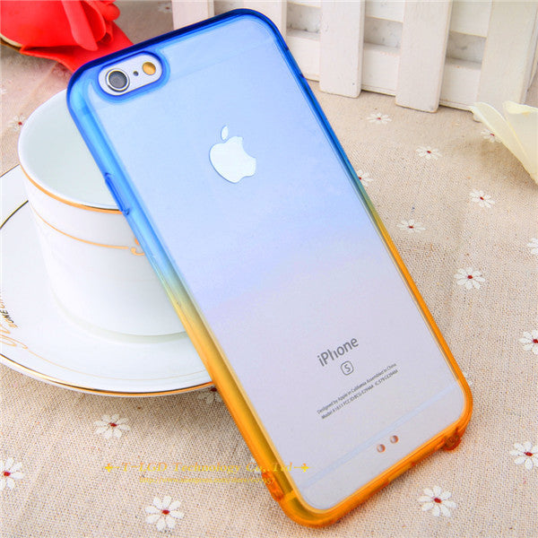 official photos 103ab 1ddb9 Blue Orange Gradient Rainbow Clear iPhone Cases for iphone 5 5s 6 6s 6 plus  6s Plus