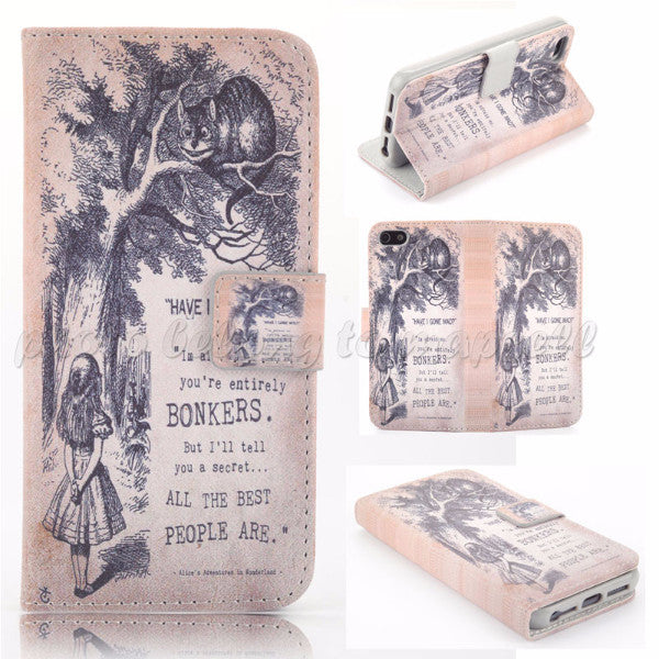 Have I Gone Mad? Alice & Cheshire Cat Flip Wallet Case for iPhone 6 4.7""