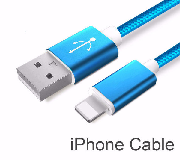 Electric Blue Nylon Line and Metal Plug Micro USB Cable for iPhone & Samsung
