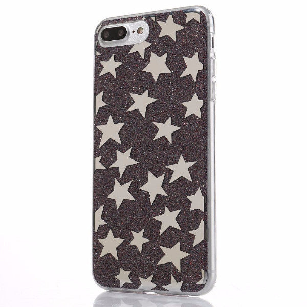 Glitter and Stars Case for iPhone 7, 7 Plus in Black Colors