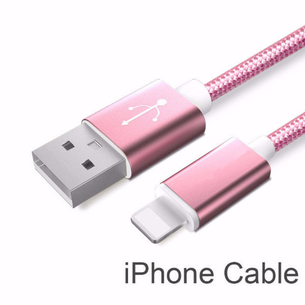 Rose Gold Line and Metal Plug Micro USB Cable for iPhone & Samsung