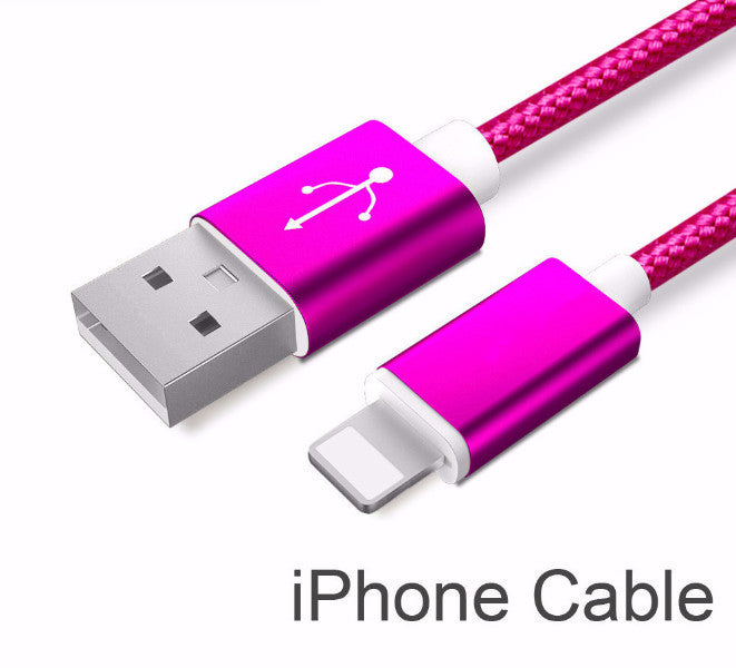 Rose Red Nylon Line and Metal Plug Micro USB Cable for iPhone & Samsung