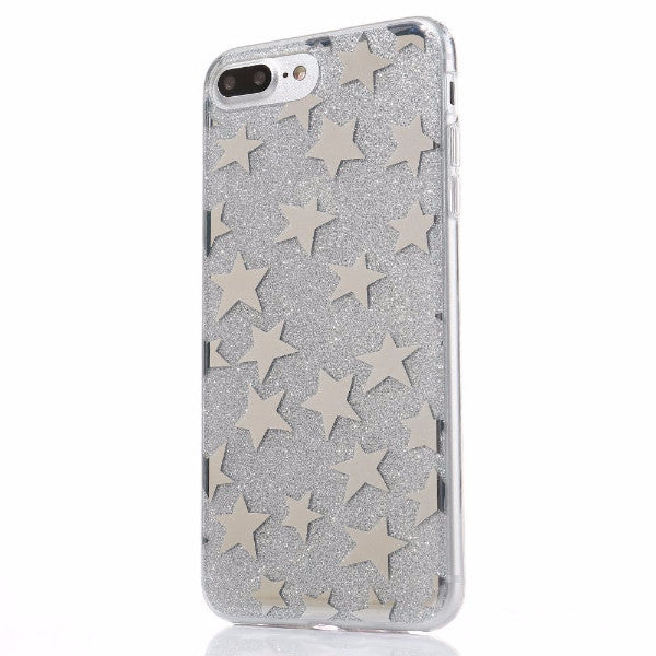 Glitter and Stars Case for iPhone 7, 7 Plus in Silver