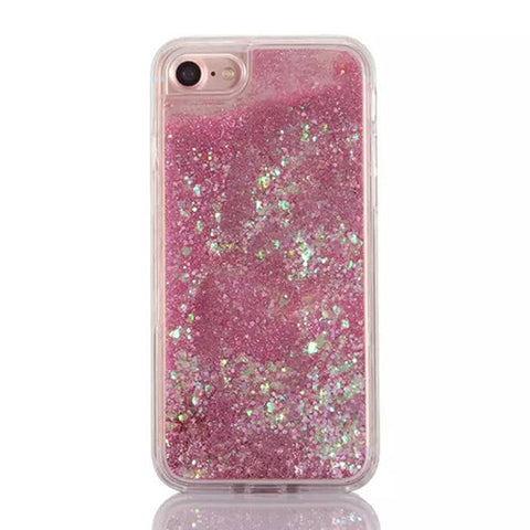 size 40 12279 297ac Cascading Iridescent Confetti and Pink Glitter Sand Case for iPhone 7