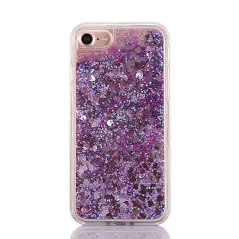 Cascading Purple Hearts Confetti and Glitter Sand Case for iPhone 7