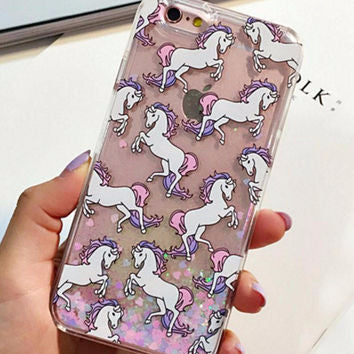 Dancing Horses Cascading Glitter Hearts Confetti Case For iPhone