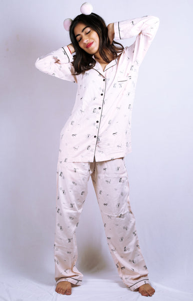 Cat print Nightsuit for Women