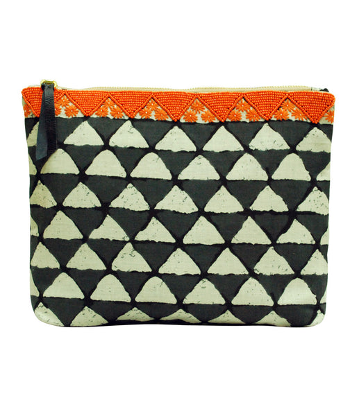 Women's Clutch Bag Block Printed Black & Orange Clutch - LoveThisStuff.com